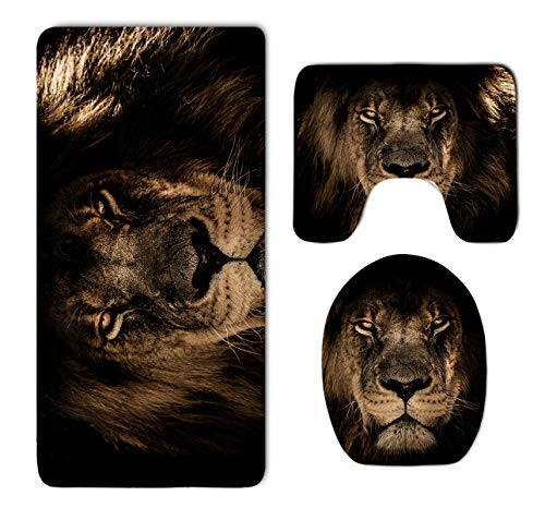 Bathroom Rug Mat Set 3 Pc - Memory Foam Bathroom Rug Carpet–Water Absorbent U-Shaped Bath Mats and Lid Cover - Non Slip, Tub Shower Fast Dry African Lion Mane Close Eyes Rug