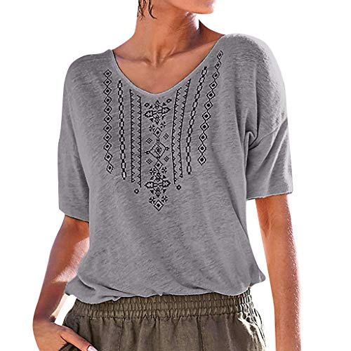 (Womens Summer T Shirt Casual Boho V Neck Short Sleeve Printed Loose Fit Top Blouse Plus Size Gray)