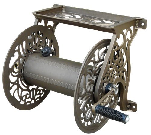 Antique 125' (Liberty Garden Products Decorative Non-Rust Cast Aluminum Wall Mounted Garden Hose Reel With 125-Foot Capacity - Antique Finish 704 by Liberty Garden Products)