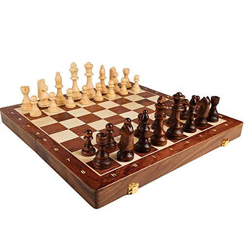 J&X Ajedrez Grande Madera, Juego de ajedrez con Portátil de Grande Tablero Plegable para Adulto,45×45×3.5cm