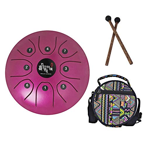 Mowind Steel Tongue Drum Tank Drum C Key 8 Notes 5.5 Inch Percussion Instrument with Drum Mallets Carry Bag Purple by Mowind