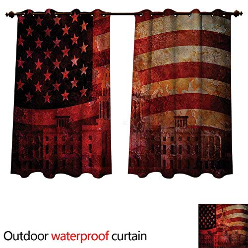 cobeDecor American Flag Outdoor Curtains for Patio Sheer Washington Monument W72 x L72(183cm x ()