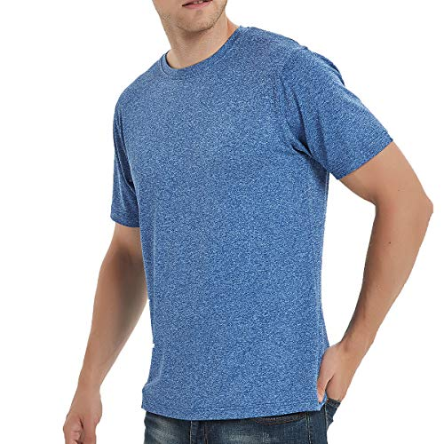 SAGO Men's Plain Blank T Shirts Casual Fitted Workout Running Short Sleeve Crew Neck Plus Size Cotton Polyester Spandex(Navy ()