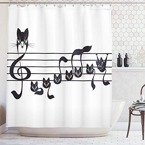 Ambesonne Music Decor Collection, Notes Kittens Cat Artwork Notation Tune Children Halloween Style Pattern, Polyester Fabric Bathroom Shower Curtain Set with Hooks, Black Green Blue
