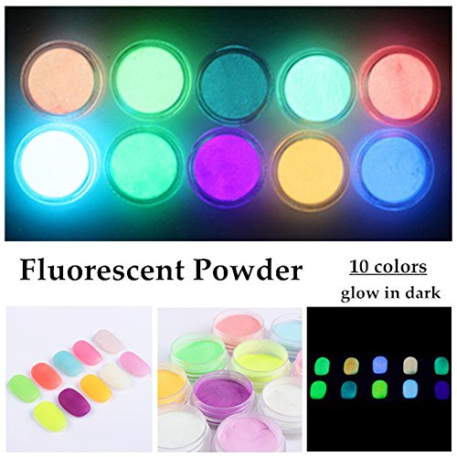 NICOLE DIARY 10 Neon Colors Phosphorescent Luminescent Fluorescent Powder Glow In Dark Nail Decorations Nail Art Acrylic Use DIY (Glow Nails)