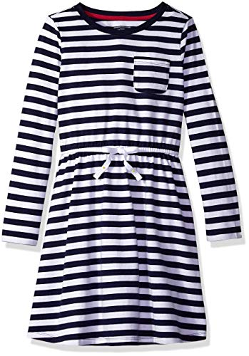 Amazon Essentials Big Girls' Long-Sleeve Elastic Waist T-Shirt Dress, evening stripe navy with white bow, X-Large