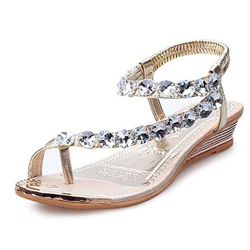 Baqijian Flats Flip Flops Women Summer Sandals Bling Beading Plaftorm Wedges Shoes Woman Golden Slid Slip-On Size 35-39 Gold 5