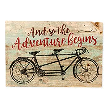 The Adventure Begins Distressed Green with Tandem Bicycle 5 x 7 Small Wood Plank Design Plaque Sign