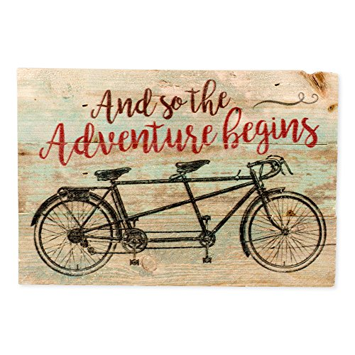P. Graham Dunn The Adventure Begins Distressed Green with Tandem Bicycle 5 x 7 Small Wood Plank Design Plaque Sign