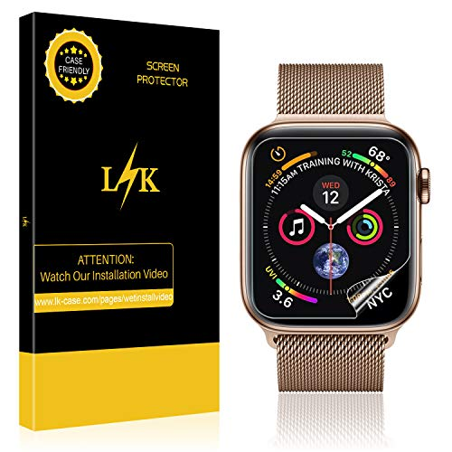Price comparison product image [6 Pack] LK for Apple Watch Screen Protector 44mm / 42mm (Series 4/3/2/1 Compatible), LiquidSkin Full Coverage Screen Protector [HD Clear Anti-Bubble Film] with Lifetime Replacement Warranty
