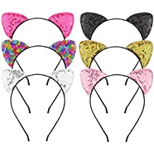 Beinou Glitter Cat Ears Headbands Shiny Cat Ear Hair Hoops Cute Sequins Kitty Hairband Hair Accessories for Women Girls Daily Wearing and Party Decoration, 6 pcs