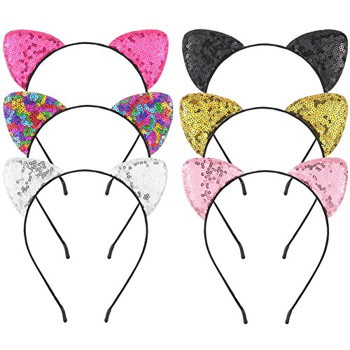 Beinou Glitter Cat Ears Headbands Shiny Cat Ear Hair Hoops Cute Sequins Kitty Hairband Hair Accessories for Women Girls Daily Wearing and Party Decoration, 6 pcs (Decoration Girl Hair)