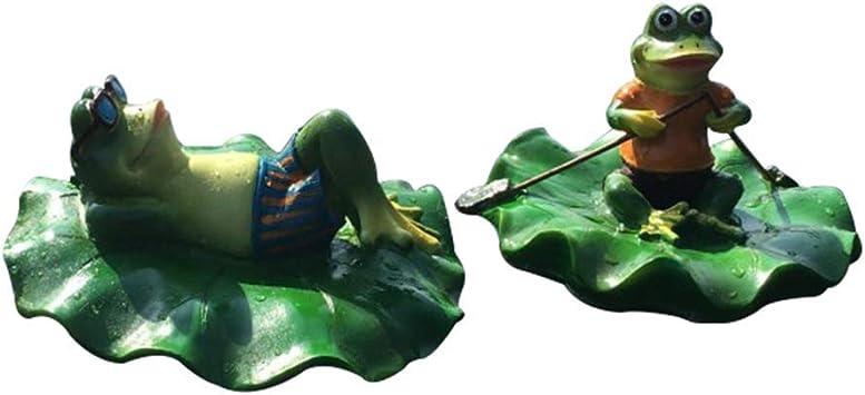 個性の池のカエルの彫刻、屋外のカエルの像モデルフローティングガーデン風景装飾樹脂