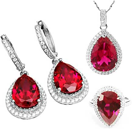 Jewelrypalace Created Ruby Sets Dangle Earrings Pendant Necklace Engagement Ring 925 Sterling Silver