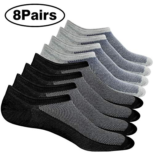 8 Pairs No Show Socks Men Low Cut Non-Slip Invisible Casual Loafer Boat Socks (Black&Grey, S/M(US Men Shoes Size 6-11))