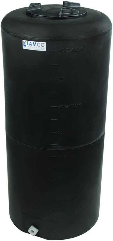40 Gallon Tamco Vertical Black PE Tank with 8inch Lid /& 3//4inch Fitting x 41inch High 19inch Dia
