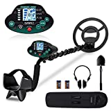OMMO Metal Detector, High Accuracy Adjustable Waterproof Metal Detectors with LCD Display, Pinpoint & Discrimination & All Metal Mode 10 Inch Search Coil for Adults & Kids