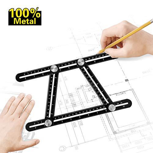 Multi Angle Measuring Ruler Premium Aluminum Angularizer Template Tool with Hole Positioning for DIY Handymen Builders Carpenters Tilers Craftsmen
