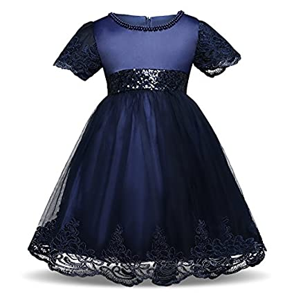 Niña Vestido de Manga corta de Encaje Lentejuelas Pajarita de Princesa Ropa de Trajes Para Azul