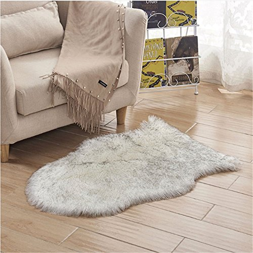 2.5x4 Feet Faux Sheepskin Rug Carpet Shaped Sheepskin Rugs-Excellent Quality Faux Fur Rug - Used As an Area Rug Or Across Your Armchair(White with Grey)