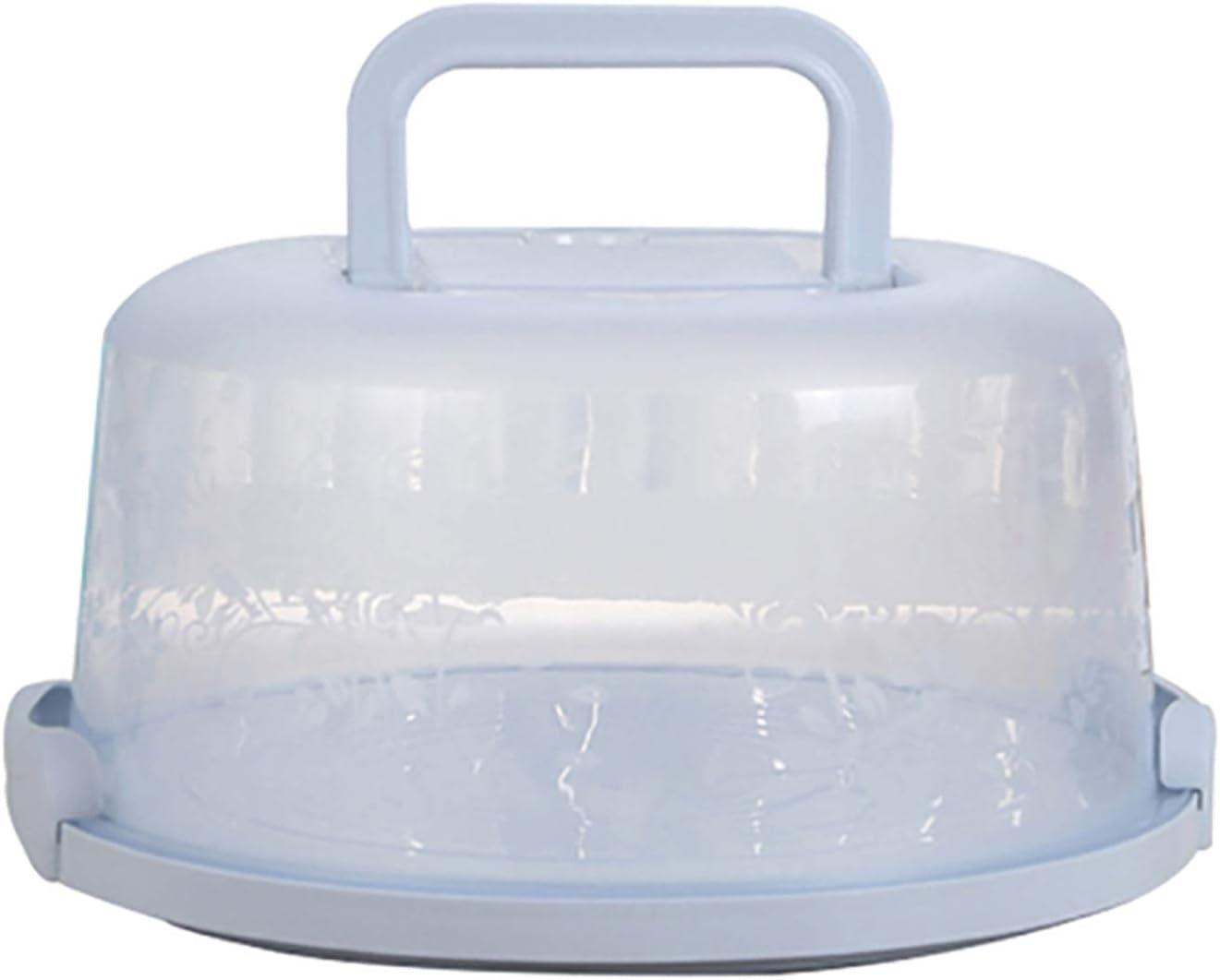 Portable Cake Box with Handle Safety Snap Button Cake Storage Box Dessert Fruit Cake Baked Food Multifunctional Transparent Storage Box (262212.5cm, Blue)