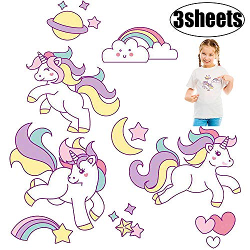 Unicorn Iron on Patches for Kids Cute Cartoon Heat Transfers Paper 3 Pcs Iron on Stickers for Baby Girls Clothing Accessories DIY Birthday Party Decorations Decorative Appliques for T-Shirts, Bags