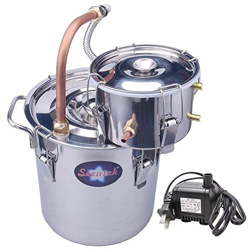 Seeutek Sealed 2 Gallon Copper Tube Moonshine Still Spirits Kit 8L Water Alcohol Distiller Home Brew Wine Making Kit Stainless Steel Oil Boiler with Water Pump ()
