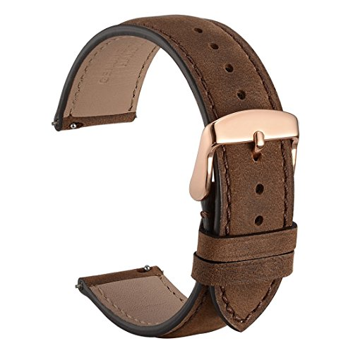 WOCCI 18mm Watch Band Quick Release,Suede Vintage Leather Watch Strap (Dark Brown with Tone on Tone Stitching)