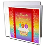 the 100 year old - 3dRose Cupcake, Number Candles, Time, Celebrate 100 Years Old Invitation - Greeting Card, 6