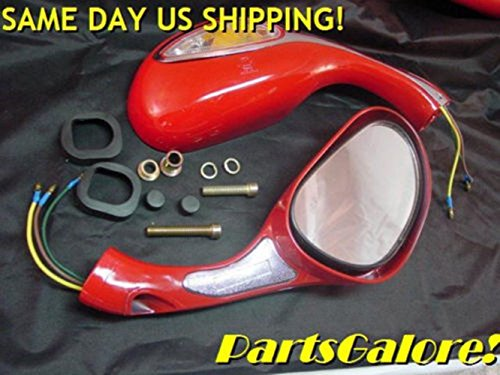 Red Lighted Mirrors Mirror Set Chinese 8mm CF250 50cc 125cc 150cc 250cc Scooter by scooter
