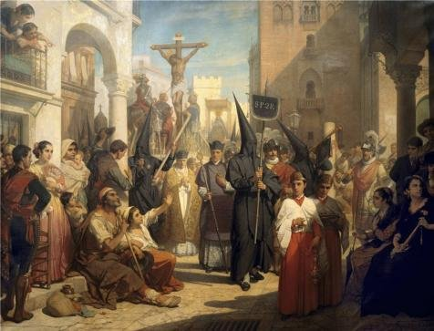 Oil Painting 'Nicaise De Keyser - Good Friday Procession At Seville,19th Century' 16 x 21 inch / 41 x 53 cm , on High Definition HD canvas prints is for (Good Halloween Double Acts)
