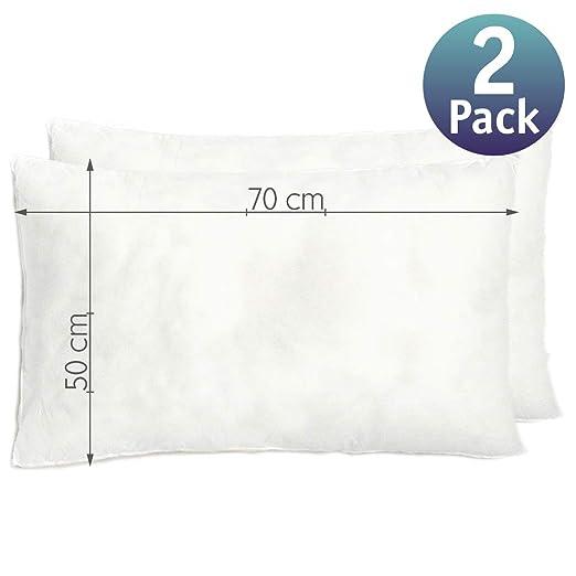 Relleno cojín | Relleno almohada. Relleno de fibra hueca, hipoalergénico, indeformable y lavable. 100% poliéster. Varias medidas. (50 x 70 / Pack 2)