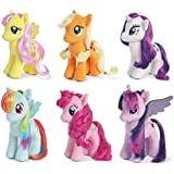 "Aurora My Little Pony 6.5"" Plush Figure Set of 6 - Applejack, Rarity, Fluttershy, Rainbow Dash, Pinkie Pie & Twilight Sparkle"