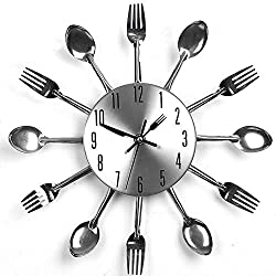 Kang® Modern Design Sliver Cutlery Kitchen Utensil Wall Clock Spoon Fork Clock