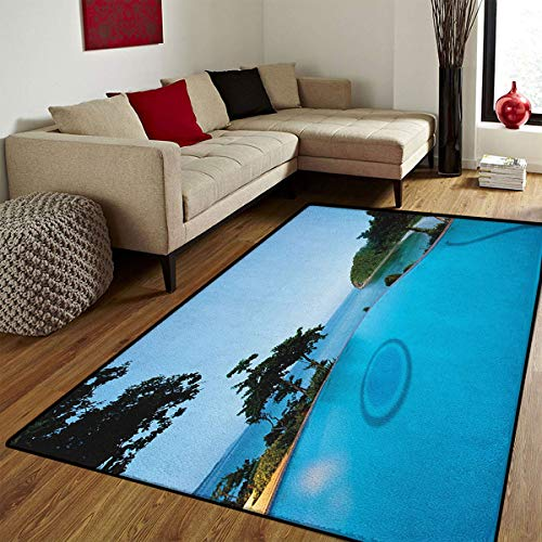 (Landscape,Door Mat Indoors,Pool View at Sunset Beach in Seacoast Ocean Vibrant Colors Adventure Photo,Door Mats for Inside Bathroom Mat Non Slip Backing,Turquoise Green,5x7 ft)