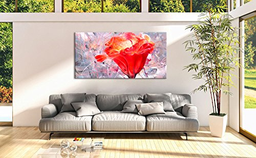 Red Flower Painting Blossom still life Abstract Canvas Wall Art Sunlight Framed pictures (Large Paintings Flower)