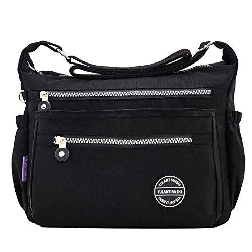 for Casual Handbags Mynos Women Shoulder Bags Black Crossbody Nylon and Multi Pocket Purses qvqROU