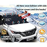Unistore [All New 2020 Edition]2.1m*1.1m secure tight Wind-resistant Rain resistant waterproof magnetic windshield&side mirror cover.perfect vehicle protection from rain,UV rays,snow,Frost,falling leaves and bird excrement. With 2 tire hooks&FREE storing pouch included