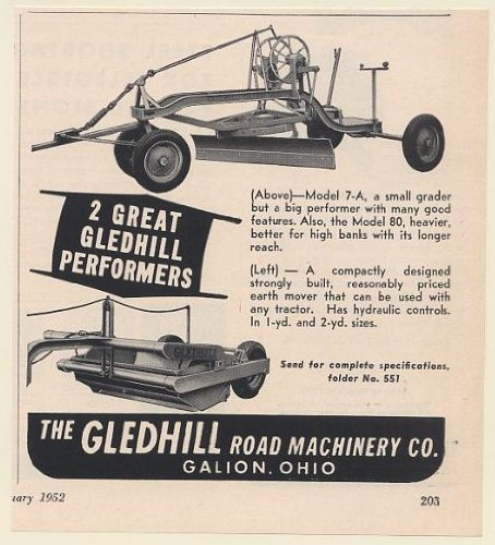 1952 Gledhill Road Machinery Galion Ohio Model 7-A Grader Earth