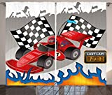Cheap Ambesonne Kids Decor Curtains, Race Car with Finish Line Flags Pilot and Flames with Abstract Gray Background, Living Room Bedroom Window Drapes 2 Panel Set, 108W X 84L Inches, Multicolor
