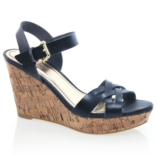 Sully's Martha02 Black Strappy Buckle Ankle Strap Open Toe Cork Platform Wedge Sandal-6