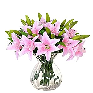 JAROWN 6 pcs Tiger Lily Artificial Real Touch Flowers Wedding Bouquets for Home Office Decoration 70