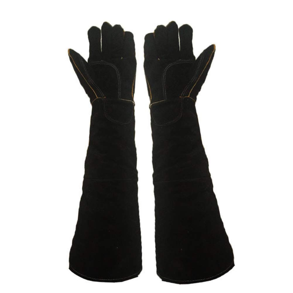 JZDCSCDNS Pet Anti-Biting Gloves, Cowhide Thicken Lengthen Non-Slip Puncture Prevention Hand Protection Suitable for Zoo Training Dog Reptile Wildlife Protector,Black,60cm by JZDCSCDNS