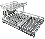 Sakura Dish Rack Drying Kitchen 2-Tier with Tray and Drainer, Aluminum Rust Proof