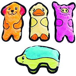 (4 pc. Multi-Pack) Outward Hound Invincibles Plush Stuffing-less Dog Toys with Squeaker