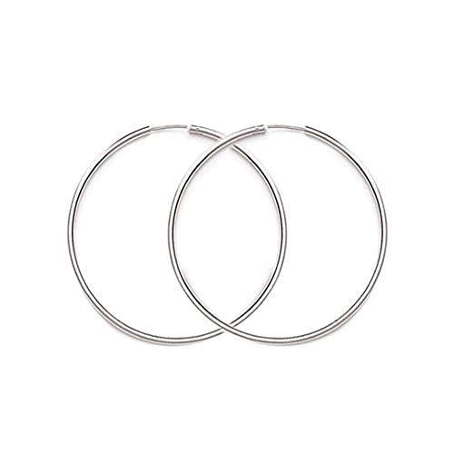 9d6e459d7 Sterling Silver Hinged Continuous Endless Wire Hoop Earrings, 14mm (2mm  Tube)