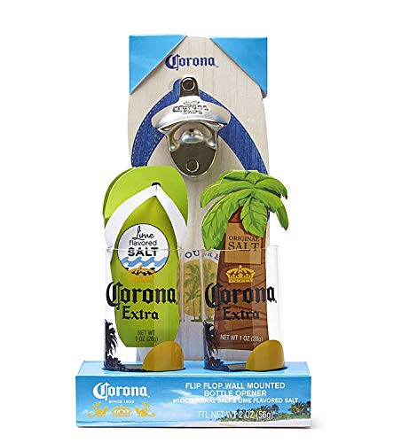 Corona Flip Flop Beverage Glasses and Bottle Opener Gift Set ()