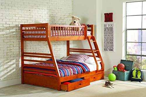 Twin Sleigh Bed Honey (Coaster Home Furnishings Ashton Twin over Full Bunk Bed Honey)
