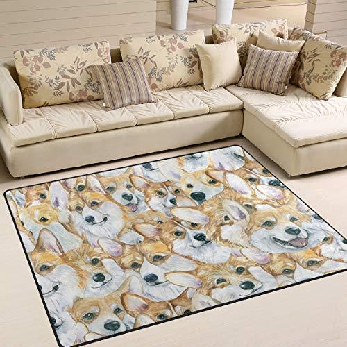 Area Rugs Paint Corgi Dog Head Pattern Indoor/Outdoor Floor Mat Livingroom Bedroom Sofa Carpet Non Slip Home Hotel Large Custom Area Rug Mat 5.25'x4'