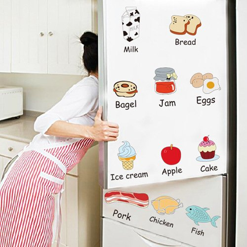 Home-organizer Tech Kitchen and Refrigerator Wall Stickers Vegetable and Meat Kids wall Decal Wall